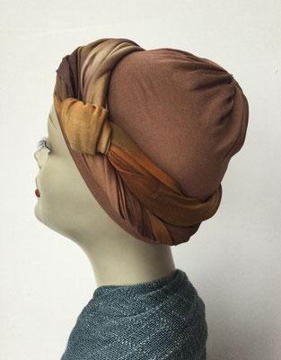 G 89k - Kopfbedeckungen kaufen - Seidenjersey-Foulard und Chäppli - elegant und klassisch - Brauntöne