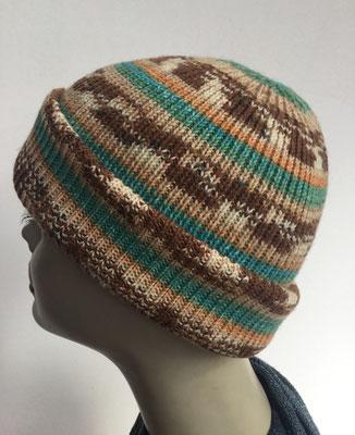 Wi 99c- Vreni Lorenzini - Kopfbedeckungen kaufen- Wintermodelle - Melone gestrickt- multicolor grün braun beige