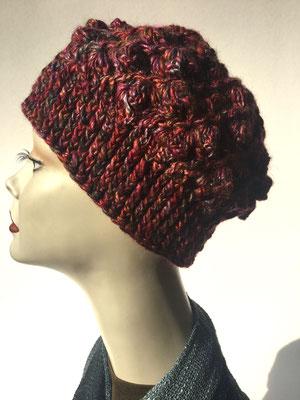 Wi 59e - Kopfbedeckungen nach Chemo - Winterrmodelle -  Artischocke gehäkelt - Rosttöne