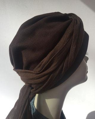 Wi 23 - Turban Nizza mit Schlaufe - Dunkelbraun - Kopfbedeckungen nach Chemo