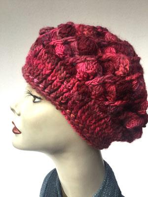 Wi 59g - Kopfbedeckungen nach Chemo - Winterrmodelle -  Artischocke gehäkelt - Rottöne