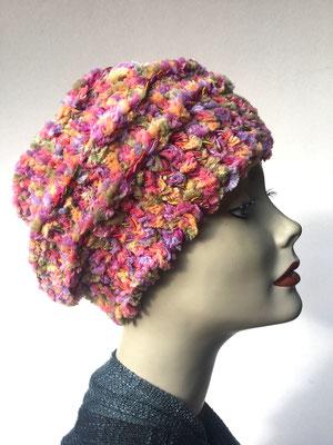 Wi 77 - Kopfbedeckung nach Chemo - Wintermodelle - Kreisel gehäkelt - multicolor Konfetti