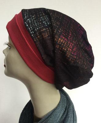 Wi 19a - Beanie genäht - rotbraun mit Muster - Kopfbedeckung kaufen