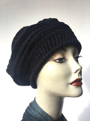 Wi 79 - Kopfbedeckung nach Chemo - Wintermodelle - Kreisel gehäkelt - schwarz