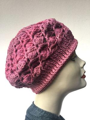Wi 59a- Kopfbedeckungen nach Chemo - Winterrmodelle -  Artischocke gehäkelt - vieux rosé