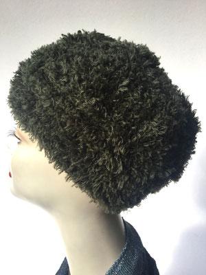 Wi 74 - Kopfbedeckung nach Chemo - Wintermodelle - Kreisel gehäkelt - dunkeloliv