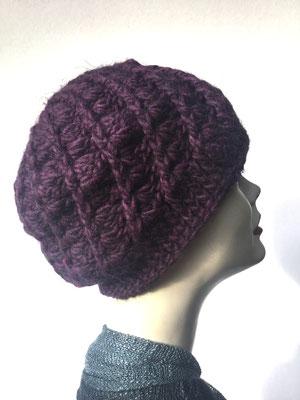 Wi 65 - Kopfbedeckung kaufen  - Artischocke gehäkelt weniger Volumen - aubergine