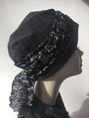 Wi 21 - Turban Nizza mit Schlaufe- Grautöne - Kopfbedeckungen nach Chemo