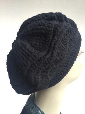 Wi 79g  - Kopfbedeckung nach Chemo - Wintermodelle - Kreisel gehäkelt - schwarz