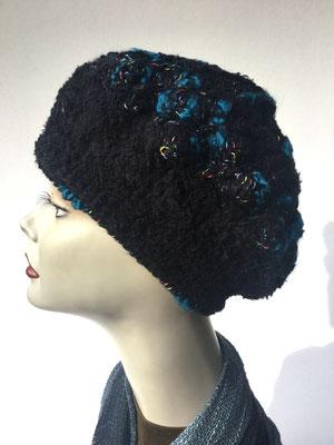 Wi 59b - Kopfbedeckungen nach Chemo - Winterrmodelle -  Artischocke gehäkelt - petrol schwarz gemustert