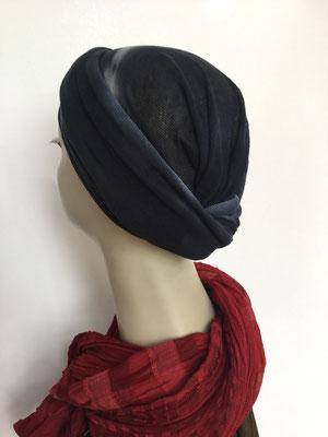 Modell G42 - Kopfbedeckungen nach Chemo - Baumwollschlauch oder Seidenjersey-Foulard  als Chäppli - dunkelblau