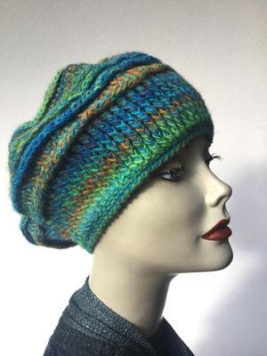 Wi 79e  - Kopfbedeckung nach Chemo - Wintermodelle - Kreisel gehäkelt -  - Grünblau-Töne