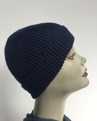 Wi 90- Vreni Lorenzini - Kopfbedeckungen kaufen- Wintermodelle - Melone gestrickt - dunkelblau