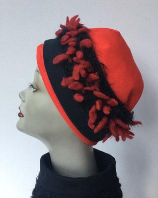 Wi 119e - Stirnband mit doppelter Baumwolle (Krempe) - rotschwarz
