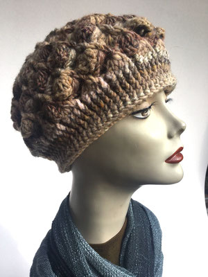 Wi 60 - Kopfbedeckung kaufen - Artischocke gehäkelt weniger Volumen - beige braun
