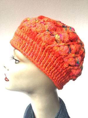 Wi 69a - Kopfbedeckung kaufen  - Artischocke gehäkelt weniger Volumen - orange gemustert
