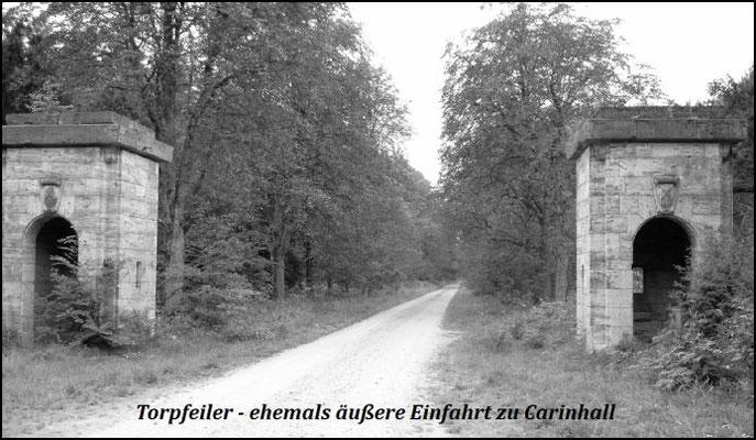 Die Torpfeiler bildeten in der Zeit um 1940 die äußere Einfahrt von Carinhall. - Dahinter erstreckt sich eine fast 1 km lange Kastanienallee, die damals angelegt wurde.