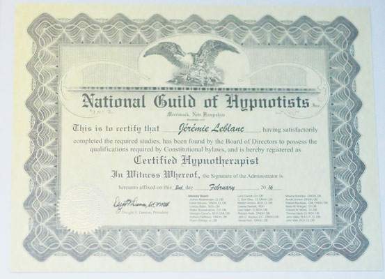 Certification National Guild of Hypnotists (NGH)