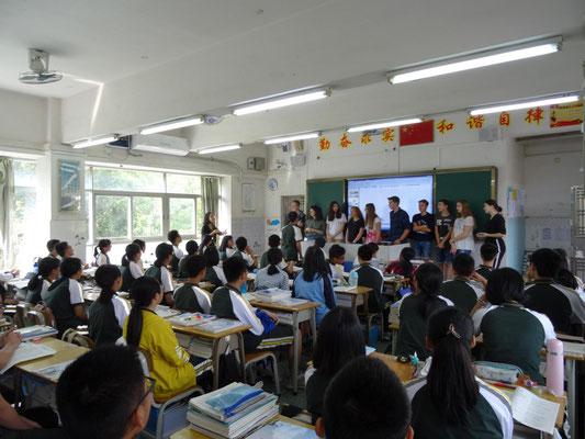 Vorstellung einiger Schüler in einer Klasse.
