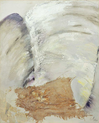 ohne Titel   1990   Acryl, Lack, Collage auf Leinwand   100 x 80 cm