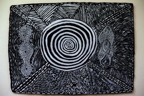 Adrienne Duncan. Waterhole. Handmade paper. 42 x 60 cm (framed)