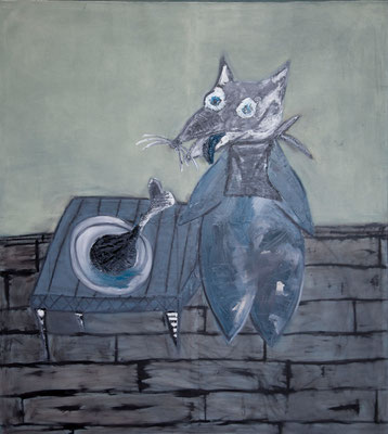 GREEDY CAT, 2000 x 1800 mm, Oil on canvas, 2015