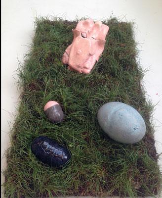 Untitled, ceramics on  grass, 2019