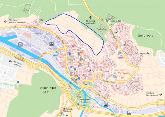 Lokalisierung der Stückle oberhalb von Plochingen