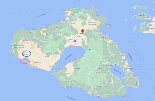 Schauplätze des Geschehens: Der Hafen Skala Eresou (magenta) und das Bergdorf Eresos (blau)