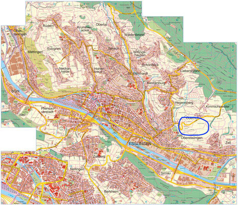 "Location of the ""stückles"" on the northern outskirts of the city of Esslingen"