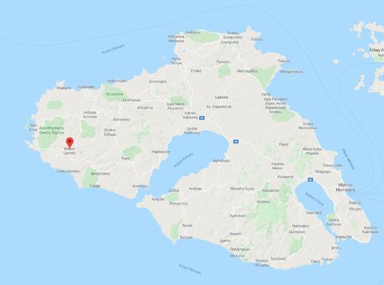 Die Lage von Eresos im rauhen Nordwesten von Lesbos