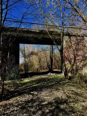 Die Brücke über die aufgegebene Bahnlinie