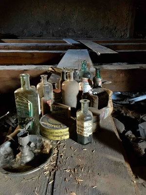 Collection af medicine bottles saved by the workers