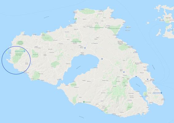 Locality determination of  Zichlionta Beach on Lesvos Island
