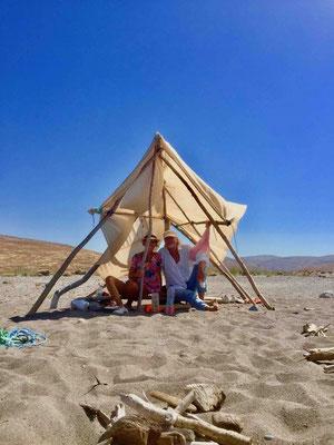 An improvisational shelter against the hot summer sun