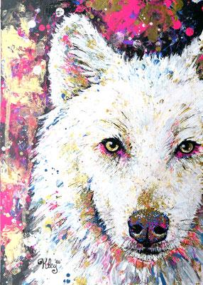 """""""Polarwolf"""" Acryl auf Spezialpapier A4"""