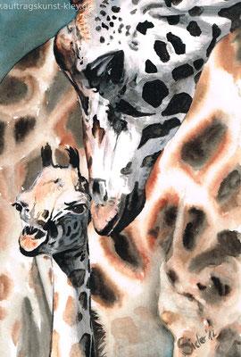"""Giraffen"" Mischtechnik auf Aquarellpapier 20x30cm"