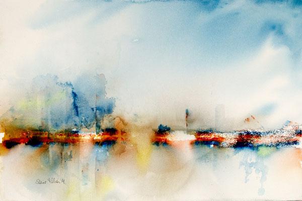 Aquarelle abstraite par Martine SAINT ELLIER - 38 x 55 cm
