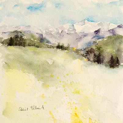 Peinture aquarelle de montagne par Martine Saint Ellier