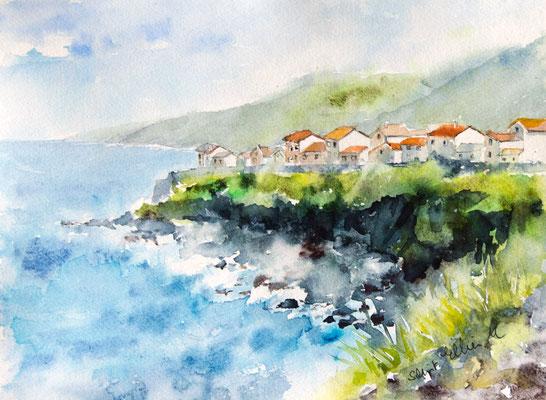 Aquarelle de bord de mer aux Açores - 28 x 38 cm