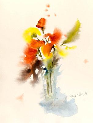 aquarelle de fleurs jaunes et orange