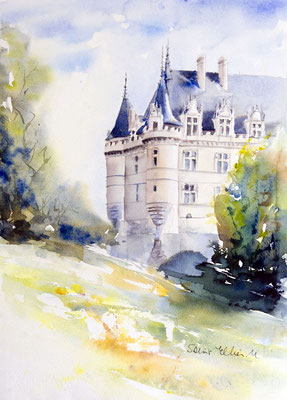 Azay Le Rideau castle watercolor