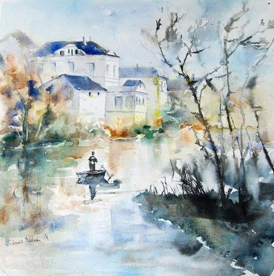 Au bord du Thouet - aquarelle Martine Saint Ellier