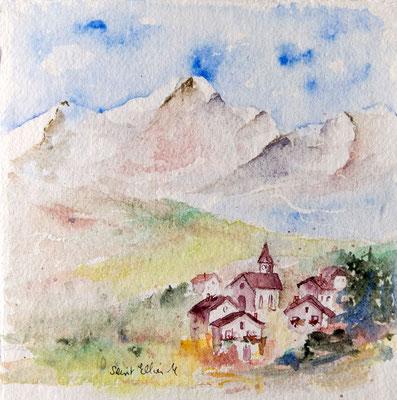 Aquarelle de petit village de montagne