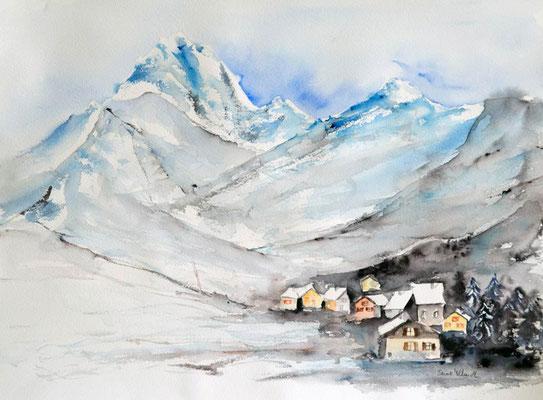 village dans la montagne en hiver - peinture aquarelle