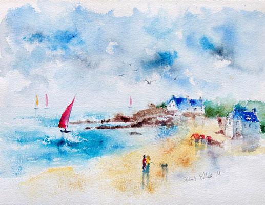 Aquarelle de Batz-sur-Mer, peinture de Bretagne