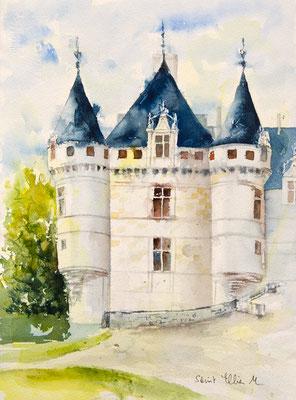 Aquarelle du Val de Loire - château d'Azay-le Rideau