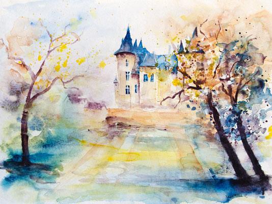 Aquarelle du château de Saumur par l'artiste Martine Jacquel Saint Ellier