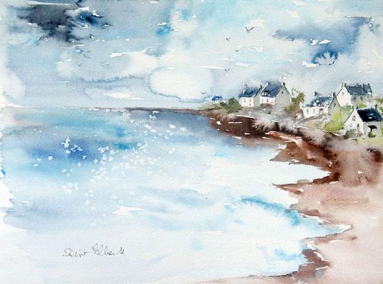 Aquarelle d'un paysage Breton, peinture marine