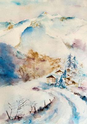 Paysage de neige à l'aquarelle